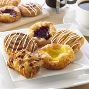 Assorted Mini Danish - 1.5 oz - Maple Pecan Plait, Vanilla Crown, Raspberry Crown, Cinnamon Swirl, Apple Coronet